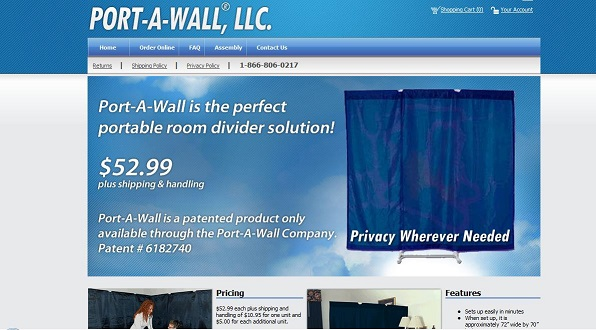 Port-A-Wall e-commerce website